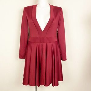 Eien Deep V Neck Burgundy Dress 2XL